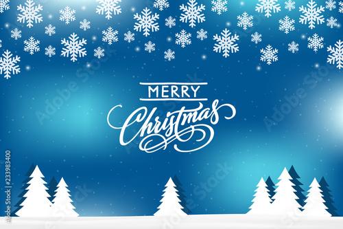 Blue Merry Christmas card. - 233983400