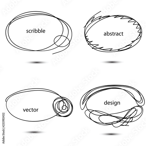 Set Of Hand Drawn Scribble Circles Collection Of Abstract Oval
