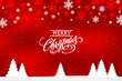 Red Xmas background and Merry Christmas lettering.