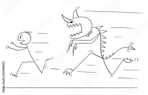 Cartoon Stick Drawing Conceptual Illustration Of Scared Man Running
