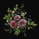 Embroidery wild roses flowers. Fashionable template tapestry flowers. Vintage buds of wild roses on black background - 234009053
