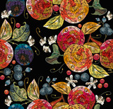 Embroidery apples and plums, berries, cowberry seamless pattern. Fashion nature template for clothes, textiles, t-shirt design. Classical embroidery ripe apples on branch, juicy plums and berries - 234009061
