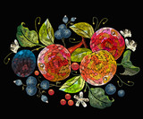 Embroidery apples and plums, berries, cowberry. Fashion nature template for clothes, textiles, t-shirt design. Classical embroidery ripe apples on branch, juicy plums and berries - 234009063