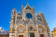 Facade Towers Mosaics Cathedral Siena Italy