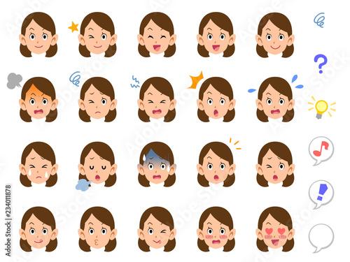 女性の20種類の表情 会社員 OL