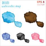 Tahiti watercolor island map. Handpainted watercolor Tahiti map set. Vector illustration. - 234017005