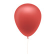 Realistic illustration of red inflatable balloon with brown string, isolated on white background