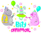 Animals party.  Set of cute cartoon animals for birthday card design.  Rabbit, hippopotamus and a pig on a holiday. © moneti