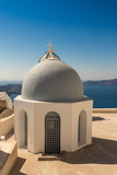 typical Santorini church in Greece in the Cyclades - 234038041