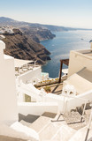 view of Santorini caldera in Greece from the coast - 234038077