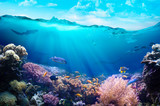 Underwater view of the coral reef. - 234040683