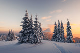 Fantastic orange winter landscape in snowy mountains glowing by sunlight. Dramatic wintry scene with snowy trees. Christmas holiday concept. Carpathians mountain, Ukraine, Europe - 234045286