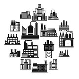 Industrial building factory black simple icons set - 234047426