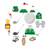 Golf cartoon icons set isolated on white background