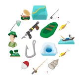 Fishing cartoon icons set isolated on white background