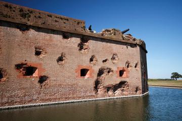 Damaged walls of Fort Pulaski, near Savannah, Georgia, USA. Fort was damaged during USA Civil War