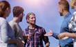 Leinwanddruck Bild - closeup .a team of friends is discussing