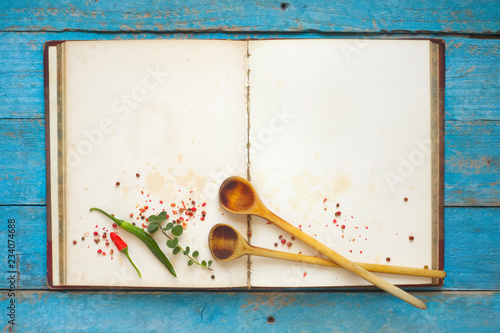 Sticker Vintage Recipe Book With Empty Pages, Spices And Wooden Spoons,  Menu Template,