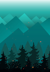 Vector Background with Mountains and fir trees silhouettes. Evening or fairy night landscape © Toltemara