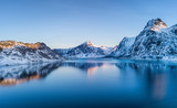Aerial view at the Lofoten islands, Norway. Mountains and sea during sunset. Natural landscape from air at the drone. Norway at the winter time - 234095494