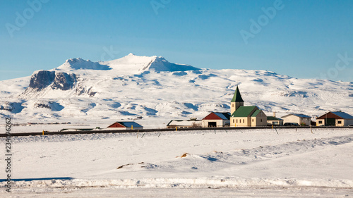 Beautiful scenery in winter snow Iceland - 234096262