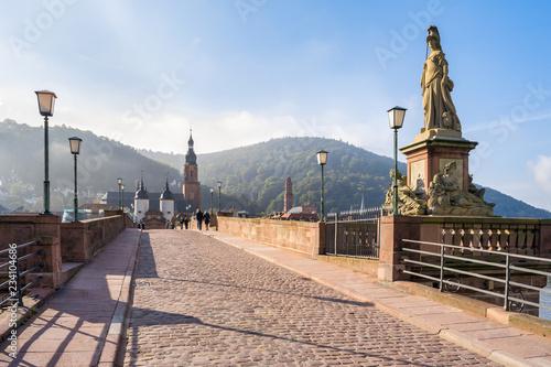Alte Brücke im Winter, Heidelberg, Baden-Württemberg, Deutschland