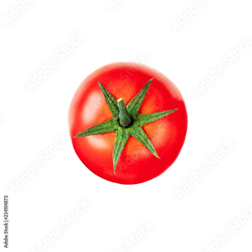 Leinwanddruck Bild  Tomato isolated on the white background. Top view. Close up