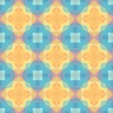 mosaic kaleidoscope seamless pattern texture background - baby pastel colors colored - orange, yellow, pink, blue - 234106859