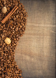 coffee beans and spices on wood - 234107498
