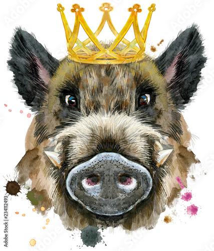 Leinwanddruck Bild Watercolor portrait of wild boar with gold crown