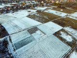 Aerial view of the countryside with the first snow (drone image). Near Kiev,Ukraine