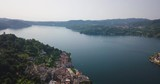 Lago d'Orta - Isola di San Giulio. Aerial view of this fantastic island on the lake in Italy. Panoramic view. - 234121026