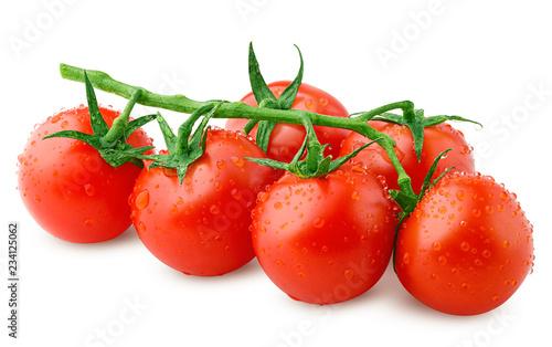 Leinwanddruck Bild tomato cherry isolated on white background, clipping path, full depth of field