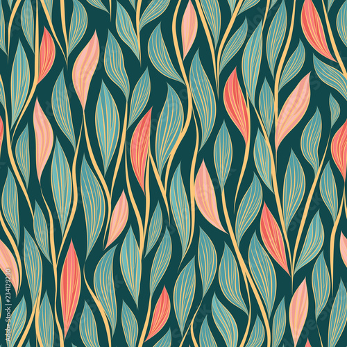 fototapeta na ścianę Seamless vector floral pattern with abstract leaves and branches in pink and blue colors on dark background
