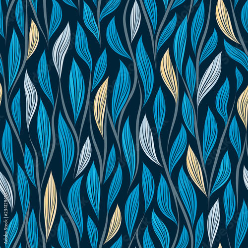 obraz PCV Seamless vector floral pattern with abstract leaves and branches in blue colors on dark background
