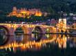 Leinwanddruck Bild - Heidelberg Alte Brücke und Schloss am Abend