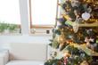 Quadro closeup of decorated christmas tree