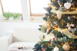 closeup of decorated christmas tree