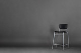 Black metal chair isolated on gray background with copy space in the studio. - 234143263