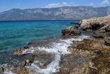 Wave by the sea. Sea rocky shore. Sailing yachts at sea. Seascape. Ships at sea. Gokova. Marmaris. Turkey