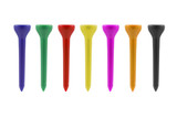 Colored golf tees isolated on a white background with clipping path