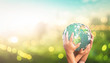 Leinwandbild Motiv Community care concept: Human hands holding earth global over blurred green city background. Elements of this image furnished by NASA