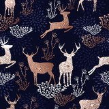 Christmas copper deer seamless pattern background - 234197853