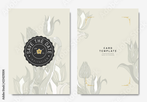 floral wedding invitation card template design hand drawn tulips on