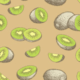 Kiwi fruit graphic color seamless pattern background sketch illustration vector - 234216660
