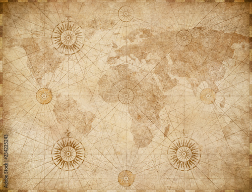 Foto Murales old medieval nautical world map