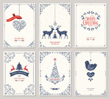 Ornate vertical winter holidays greeting cards with New Year tree, reindeers, Christmas ornaments, dove, swirl frames and typographic design.  - 234226649