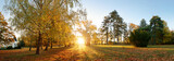Beautiful park garden in atumn. Fall panorama in park at sunrise in Slovakia - 234228236