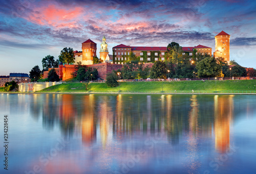 Wawel hill with castle in Krakow at night, Poland © TTstudio