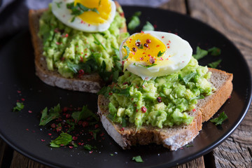 Sandwich with avocado and egg